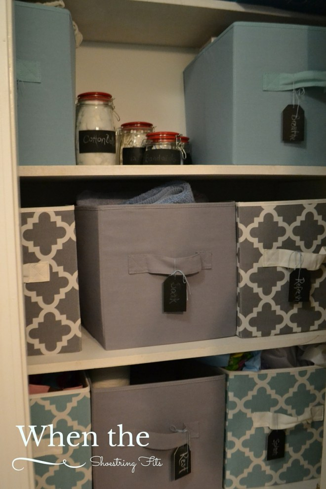 A neatly organized linen closet makes it easy to find things.