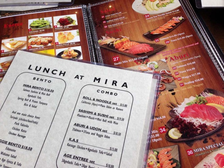 Mira Restaurant lunch specials menu