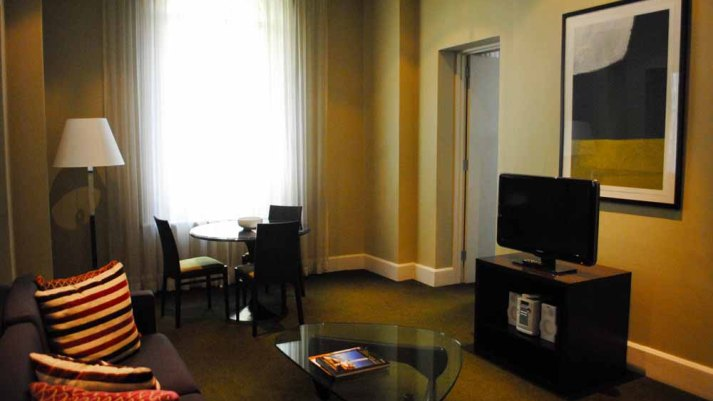 Spacious apartment at the Treasury Adina Apartment Hotel, Adelaide.