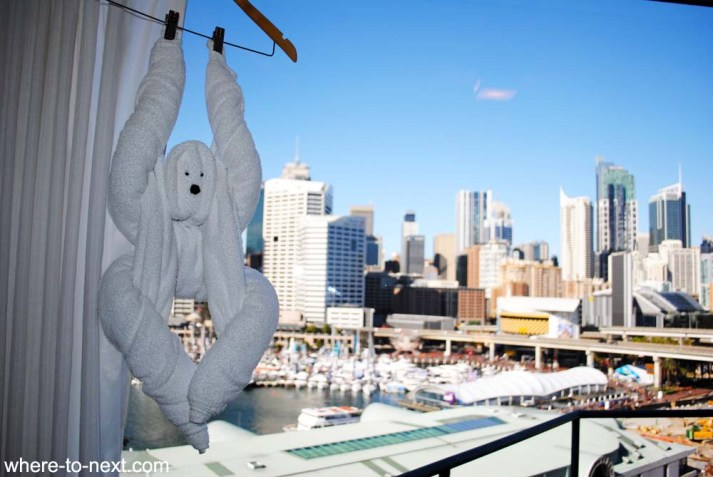 Novotel Darling Harbour towel monkey and view