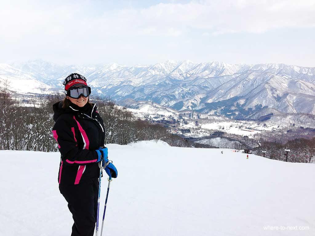 Iwatake-me with view-of-Hakuba-village