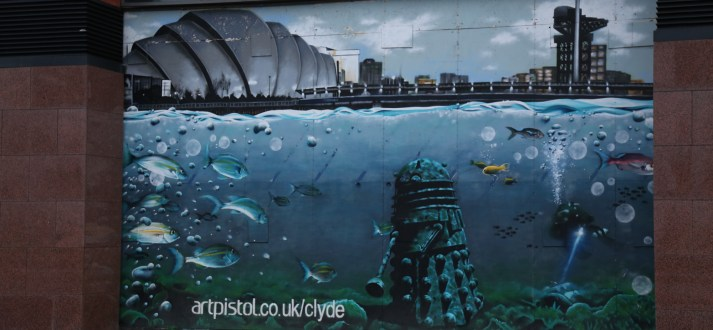 Glasgow Street Art View of the Clyde dalek