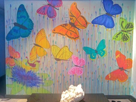 DIY Butterfly Mural, the completed Wall Mural