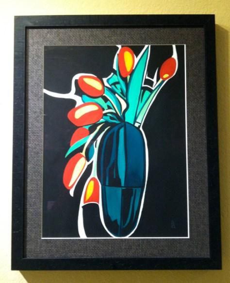 Orange Tulips, Gouache on Paper, by Romi Cortier
