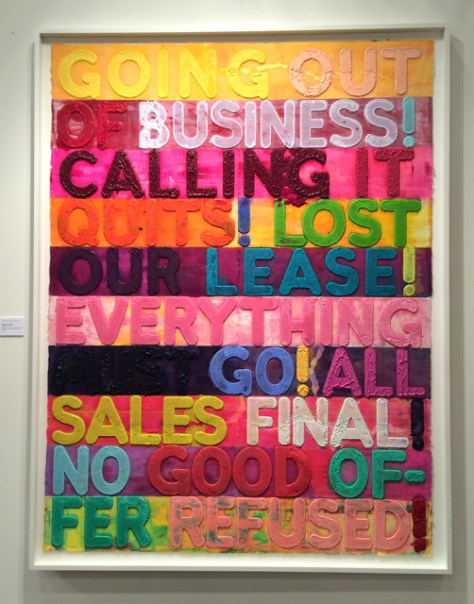 Going out of Business, 2012, Monoprint and Collage on Handmade Paper, Mel Bochner, $120,000, Heather James Fine Art, Photo Romi Cortier