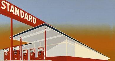 Ed Ruscha, Standard Station, 1966, Screenprint, Image Courtesy Los Angeles County Museum of Art