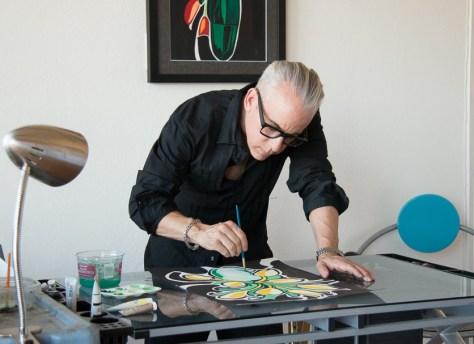 Romi Cortier painting in his Art Studio, Laurel Canyon, Photo Sylvan Scott