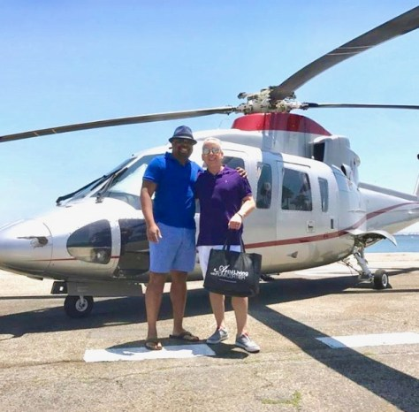 Recio and Romi, Helicopter transport from Catalina Express, Longbeach, Ca. 2017