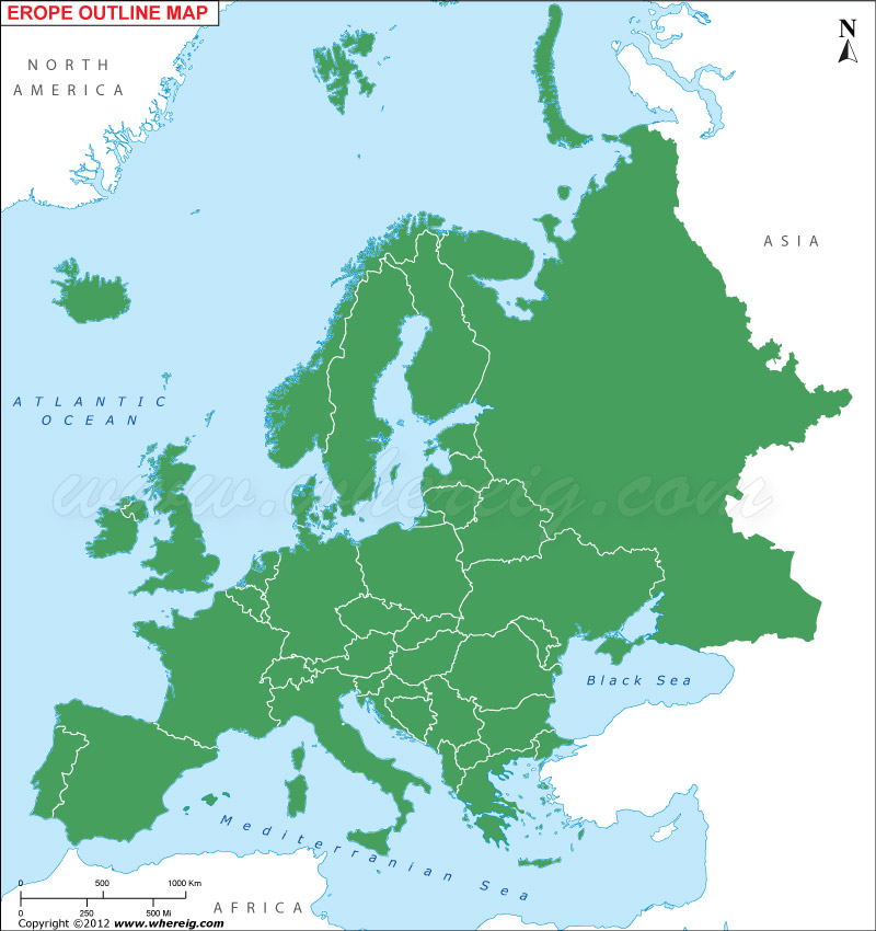 Europe Outline Map, Europe Blank Map