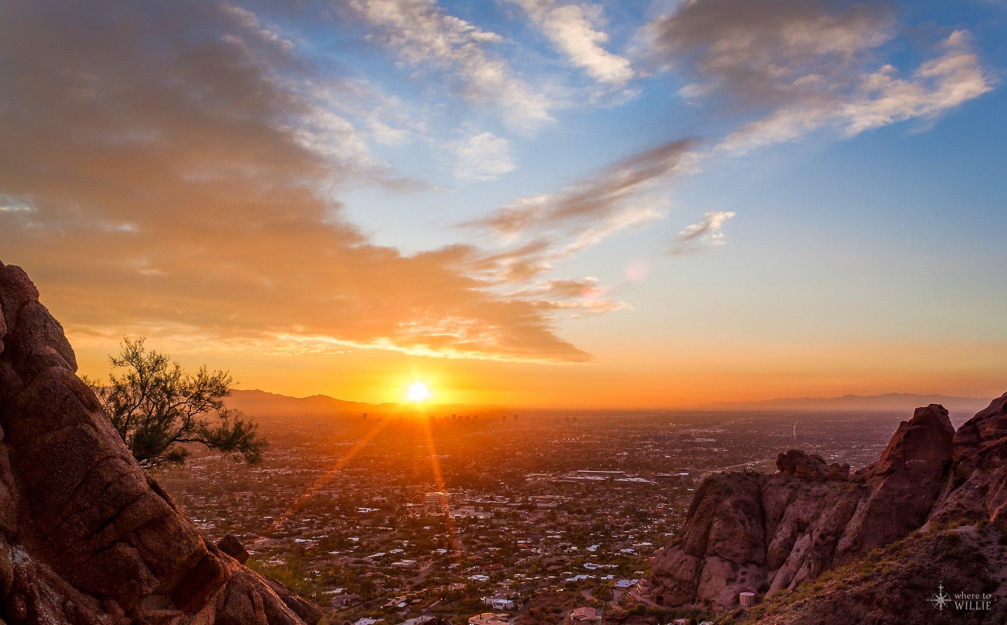 Looking Glass Falls Desktop Wallpaper Sunset Burning Over Phoenix Camelback Mountain