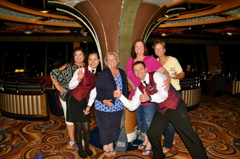 My friends and I celebrating with some staff on my most recent Princess cruise.