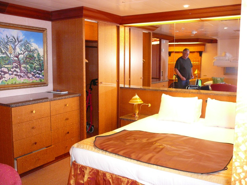 A junior suite aboard the Carnival Miracle.