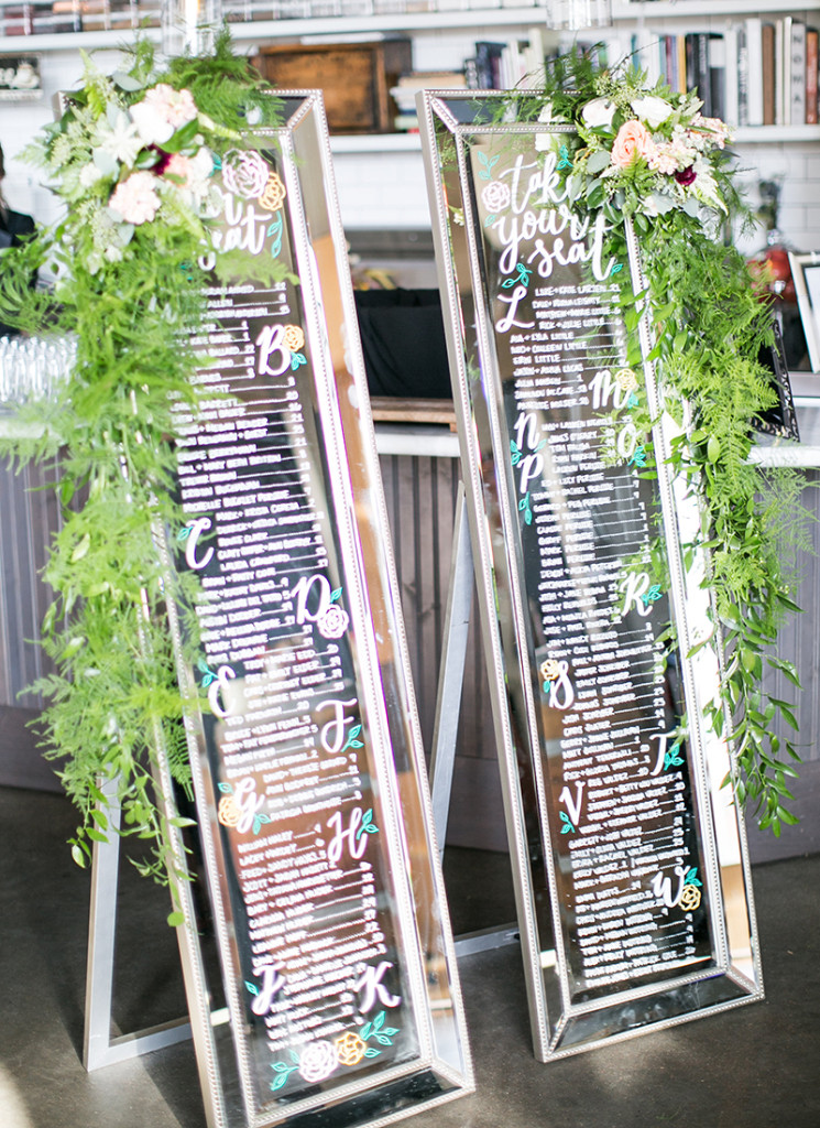 Erin  Marc Mirror Seating Chart Modern Wedding - Whimsy Design Studio