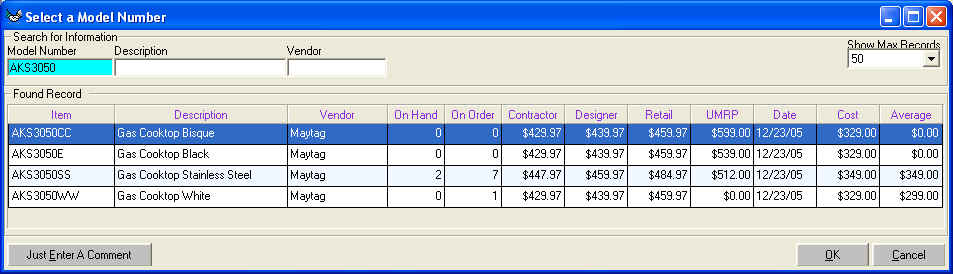 Adding Purchase Order Model Numbers