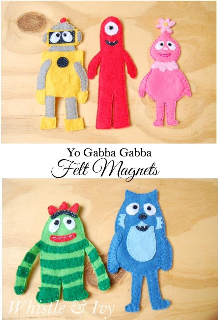 Yo Gabba Gabba Felt Magnets - Perfect little fridge magnets for your Yo Gabba Gabba fan! {Free Sewing Pattern by Whistle and Ivy}