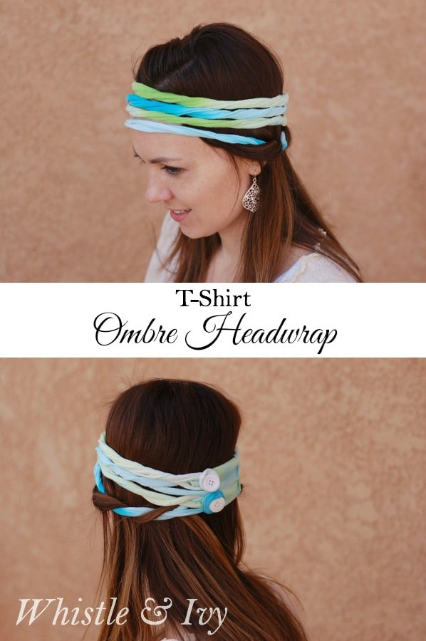 Make this easy and cute headwrap from a white t-shirt and some tie-dye! {Whistle and Ivy}