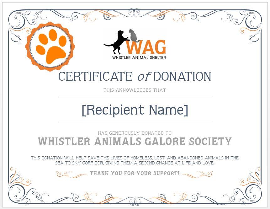 Memorial Donation Whistler Animals Galore (WAG) Whistleru0027s - donation certificate template