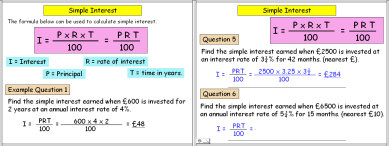 A PowerPoint math or maths presentation on Simple Interest