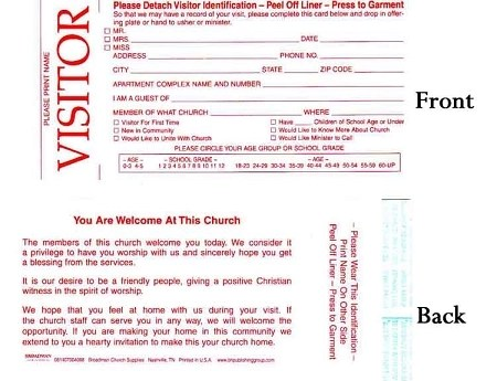 Welcome Visitor Cards with Adhesive Name Tag