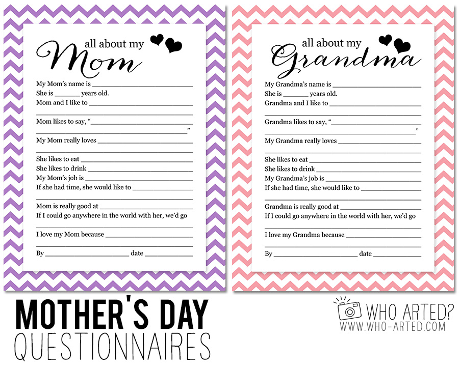 Motheru0027s Day Questionnaire - printable survey template