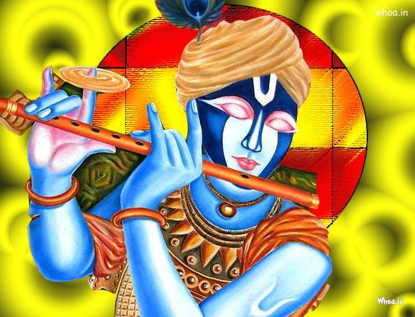 Cute Baby Ganesha Wallpapers God Krishna Play Flute Colorful Art Photo