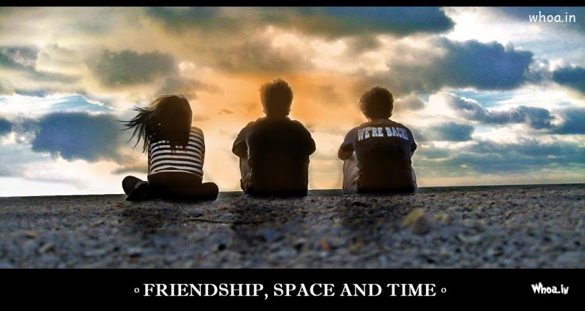 Om 3d Wallpaper Download Happy Friendship Day Greetings Quote With Three Friends Space