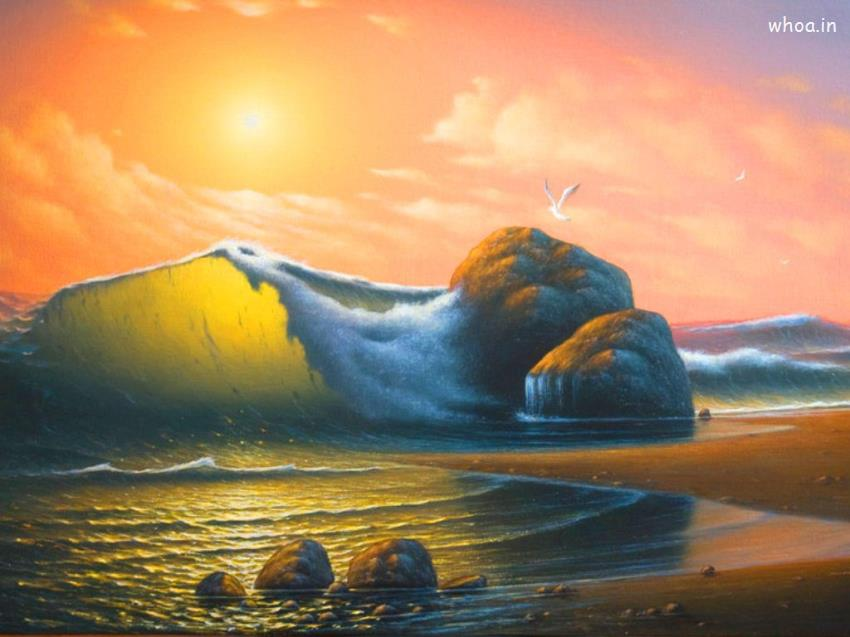 Shri Ram Wallpaper 3d Natural Sea Art Colorful Hd Wallpaper