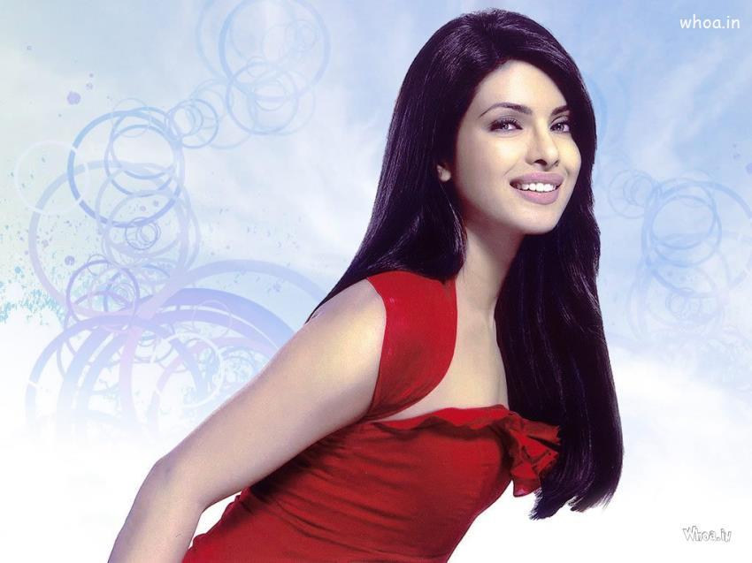 Happy Holi 3d Wallpapers Priyanka Chopra Red Dress Close Up Photo Shoot