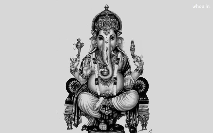 Happy Diwali 3d Wallpaper Ganesh Ji Black And White Wallpaper