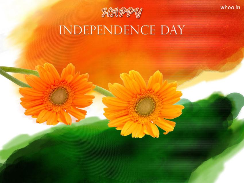 Ganesh Chaturthi Wallpapers 3d Happy Independence Day Flower Flag Wallpaper