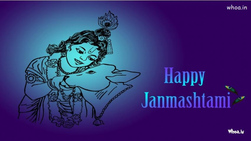 God Krishna Wallpaper 3d Hd Happy Janmashtami Festival Blue Hd Wallpaper