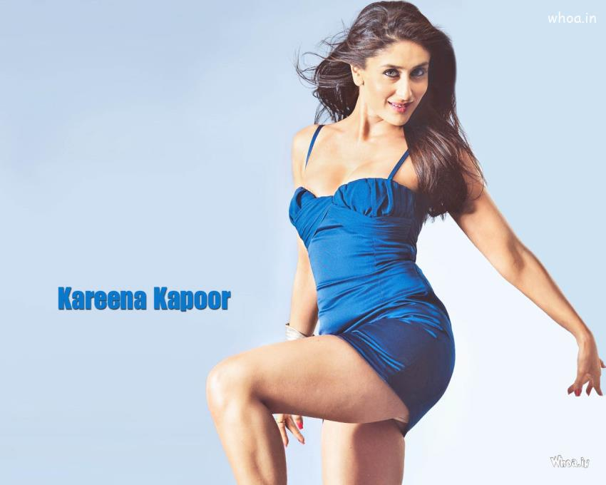 3d Wallpaper Actress Kareena Kapoor Blue Dress Hot Hd Wallpaper