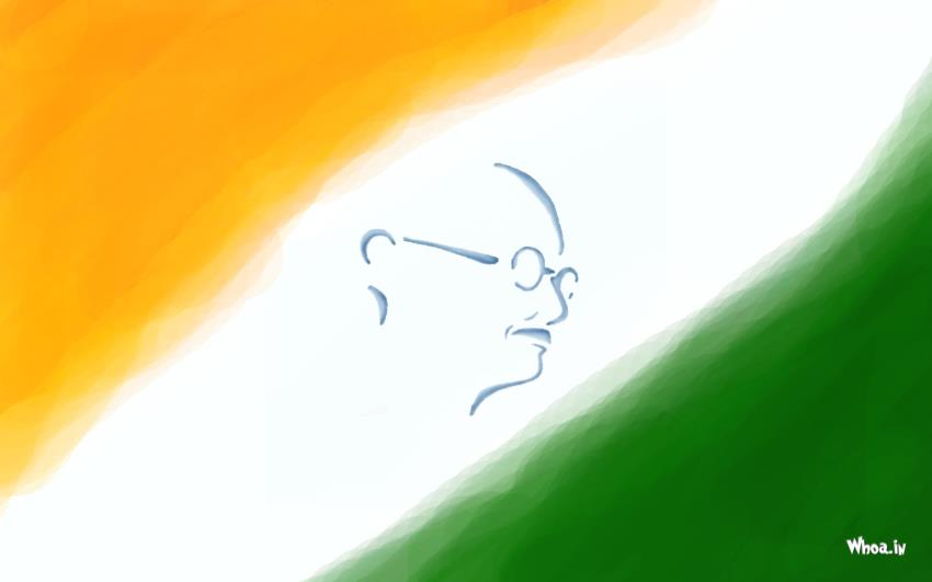 Happy Friendship Day 3d Wallpaper Mahatma Gandhi In Indian Flage