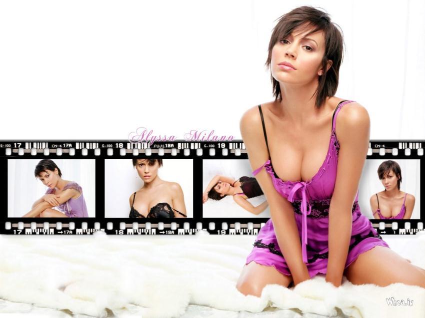 God Ganesh Hd 3d Wallpaper Alyssa Milano Showing Her Cleavage