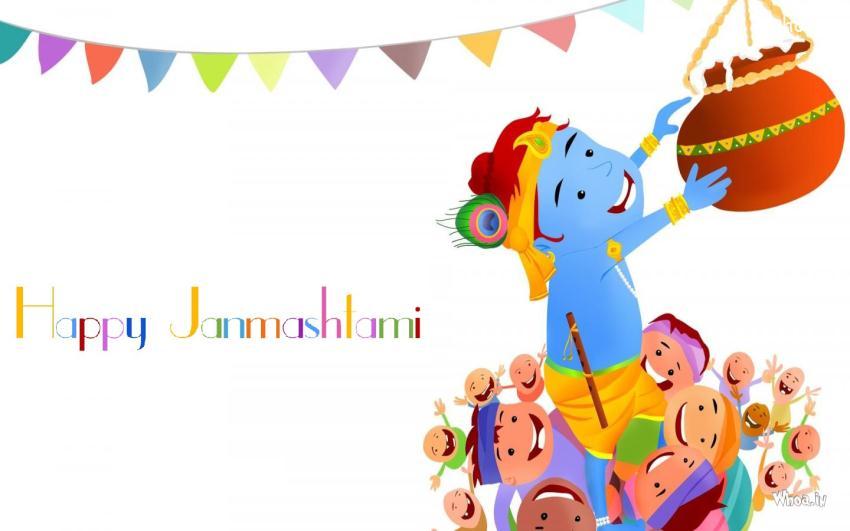 Holi Wallpaper With Quotes In Hindi Happy Janmashtami Cartoon Wallpaper