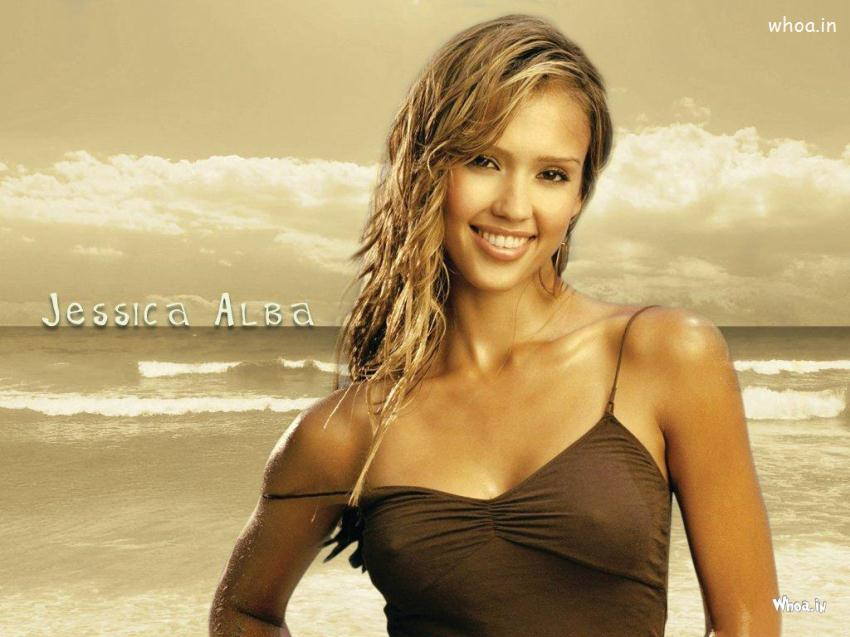 Navratri Wallpaper With Quotes Jessica Alba Hot Photoshoot On A Beach