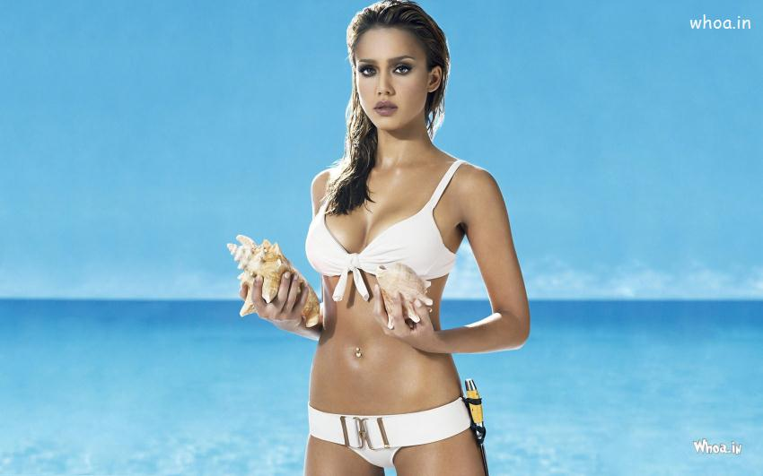 Salman Khan 3d Wallpaper Jessica Alba In White Bikini On Seashore