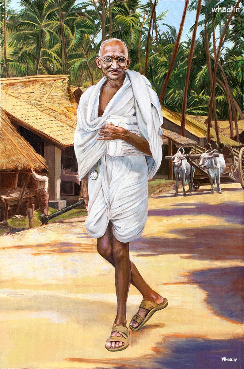 Ganesh Chaturthi Wallpapers 3d Mahatma Gandhi Natural Painting