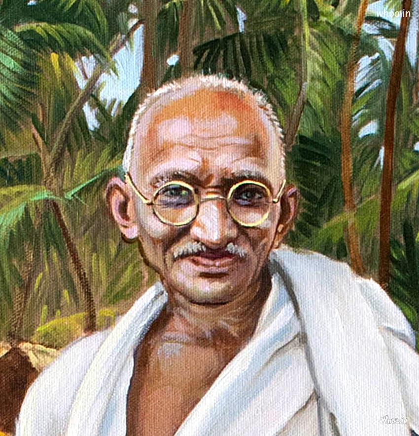 Krishna 3d Wallpaper Download Mahatma Gandhi Oil Painting