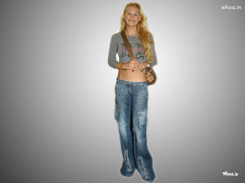 Lord Shiva 3d Wallpapers For Mobile Anna Kournikova In Blue Jeans And T Shirt With Purse
