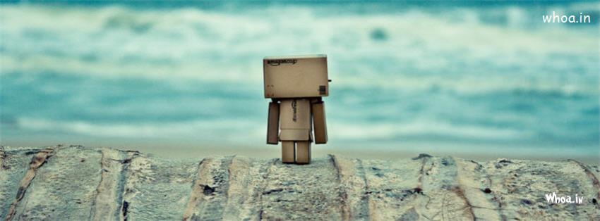 3d Wallpaper Mobile Apps Danbo Robot On A Beach Fb Cover