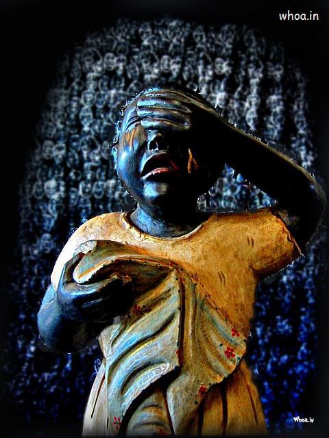 Radhe Krishna Wallpaper With Quotes Dark Crying Statue Of Child