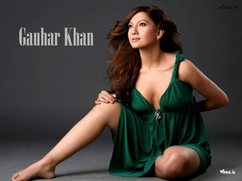 Happy Valentines Day Wallpaper With Quotes Gauhar Khan Sitting In Green Maxi Dress