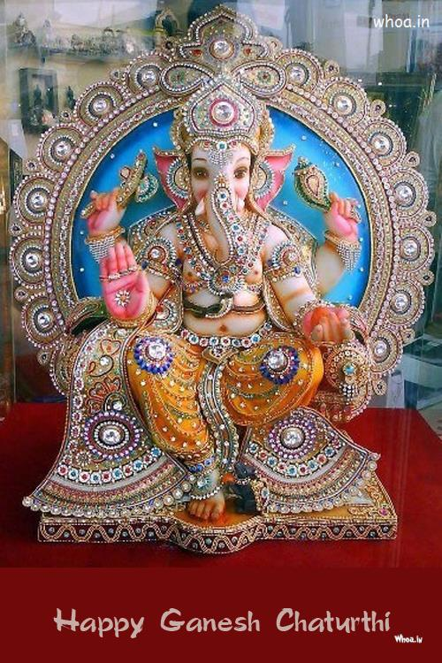 Navratri Wallpaper With Quotes Happy Ganesh Chaturthi Creative Statue