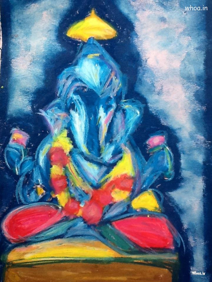 Gandhi Wallpapers With Quotes Lord Ganesha Blue Oil Color Painting
