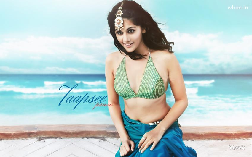 Holi Wallpaper 3d Taapsee Pannu In Sky Blue Saree Photoshoot On A Beach