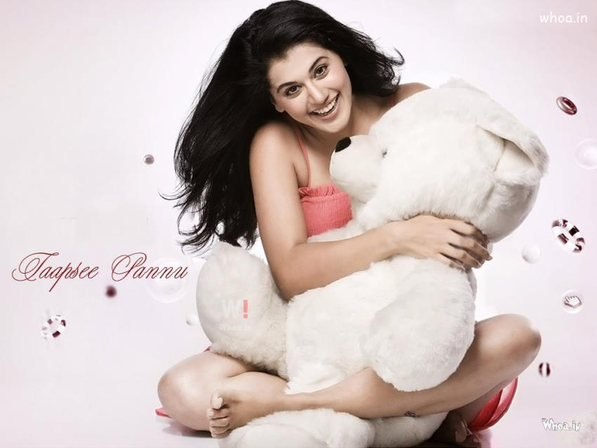 New Cute Baby Girl Wallpapers Tapasi Pannu Close Up Photoshoot With Teddy Bear At Her Home