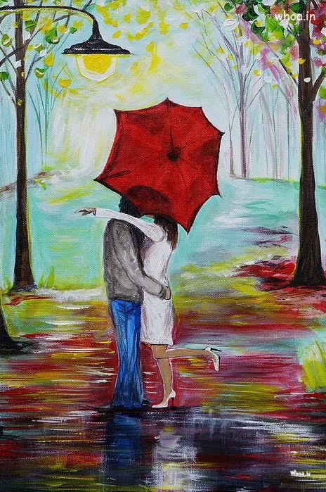 3d Wow Wallpaper Couple Kiss Colorful Hand Painting