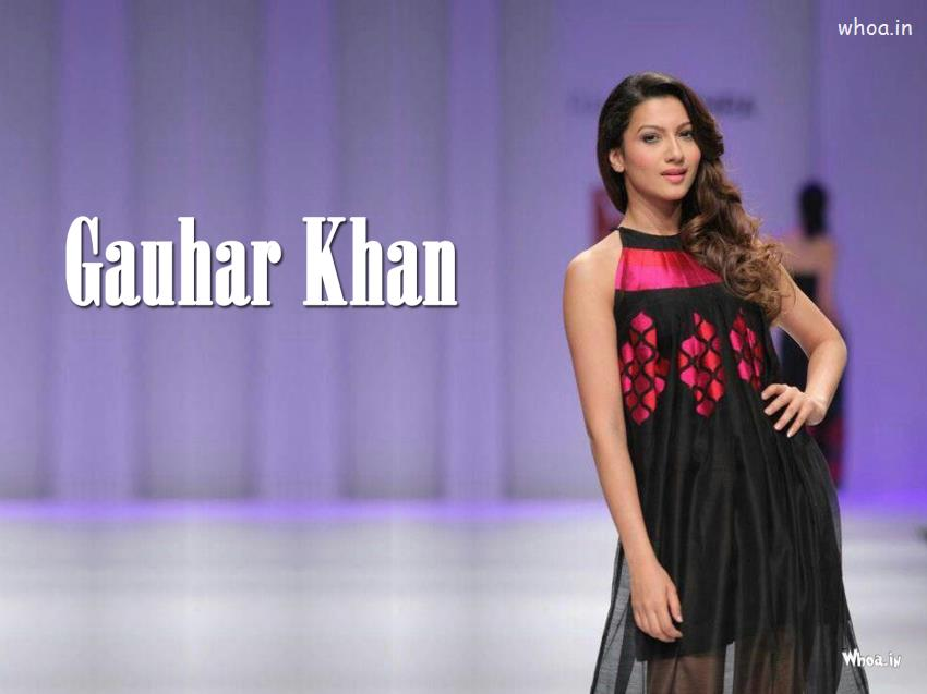 Cute Baby Holi Wallpaper Gauhar Khan In Black Sleeveless Dress Hd Wallpaper