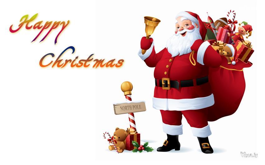 Krishna Hd Wallpaper Free Download Happy Christmas Santa Claus With Gifts